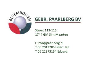 Contact gegevens Gebr. Paarlberg BV